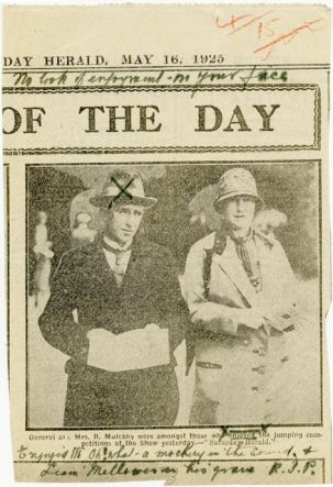 Newspaper cutting of Mulcahy and his wife, 16 May 1925 (UCDA P7/C/84)