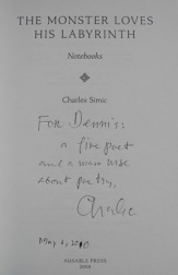 Signed title page from 'The Monster Loves His Labyrinth' by Charles Simic.