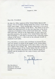 Letter from President of the USA, Lyndon B. Johnson. UCDA/P150/2851 Papers of Eamon de Valera. Reproduced by kind permission of UCD-OFM Partnership.