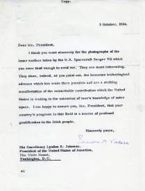 Reply from Eamon de Valera to Lyndon B. Johnson. UCDA/P150/2851 Papers of Eamon de Valera. Reproduced by kind permission of UCD-OFM Partnership.