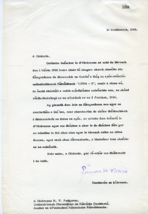 Letter as Gaeilge to Nikolai Viktorovich Podgorny. UCDA/P150/3403 Papers of Eamon de Valera. Reproduced by kind permission of UCD-OFM Partnership.