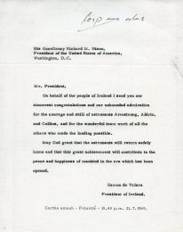 Letter of congratulations to President of the USA Richard Nixon. UCDA/P150/3482 Papers of Eamon de Valera. Reproduced by kind permission of UCD-OFM Partnership.