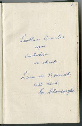 Liam de Noraidh diary (NFC 872/1)