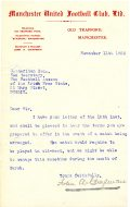 Letter from Manchester United Football Club 11 November 1925 (UCDA P137/2).