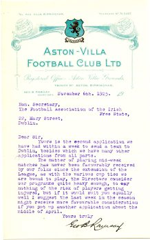 Letter from Aston-Villa Football Club 6 November 1925 (UCDA P137/2).