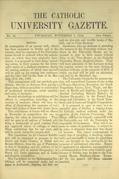 'The Catholic University Gazette' No. 24, November 1854 - the week the CUI opened.