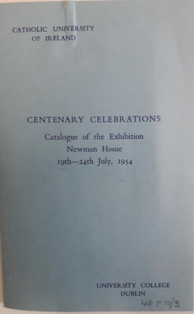 Exhibition catalogue for Centenary Celebration of the CUI in 1954.
