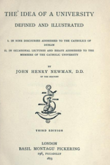 'The Idea of a University Defined and Illustrated' by John Henry Newman (London, 1852).