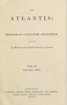 Volume 1 of 'The Atlantis' (London, 1858).
