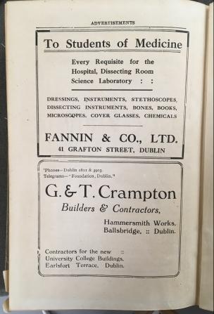 Advertisements from UCD Calendar 1919-1920.