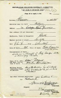 Aidan Gleeson died as a result of hunger strike, 1918 (UCDA/P156/23).
