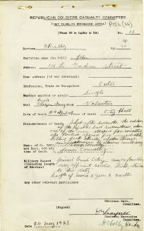 John O'Reilly killed in City Hall, 1916 (UCDA/P156/64).
