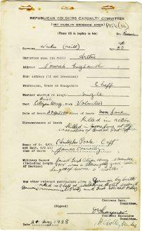 Arthur Weekes (Neill) killed in Moore Lane, 1916 (UCDA/P156/66).