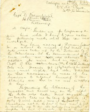 First page of Donal O Maoilimicil's letter seeking the return of his bike, 30 November 1921 (UCDA P64/5 (26).