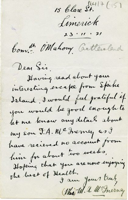 Letter from Mrs. M.A. McInerney seeking information on her son, 23 November 1921 (UCDA P64/7 (15)
